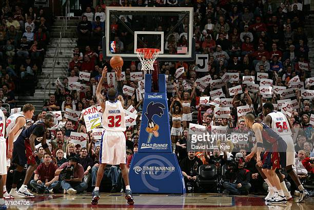 Fans of the Cleveland Cavaliers try to effect the outcome of a free throw attempt by Richard Hamilton of the Detroit Pistons on March 21 2010 at The...