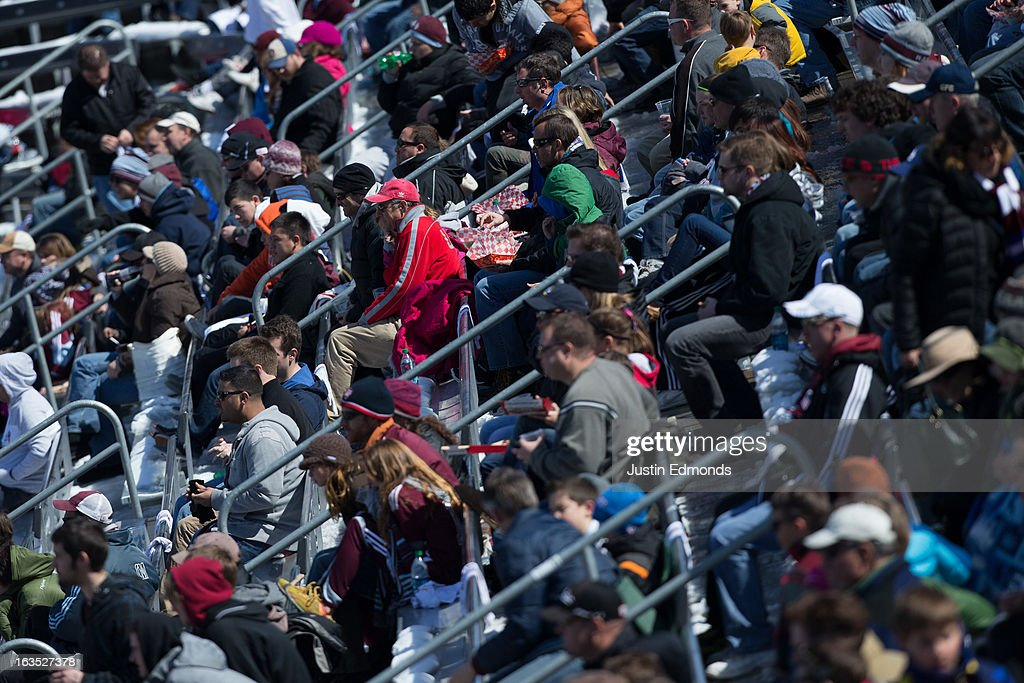 Fans of the Colorado Rapids support their team against the Philadelphia Union at Dick's Sporting Goods Park on March 10, 2013 in Commerce City, Colorado.