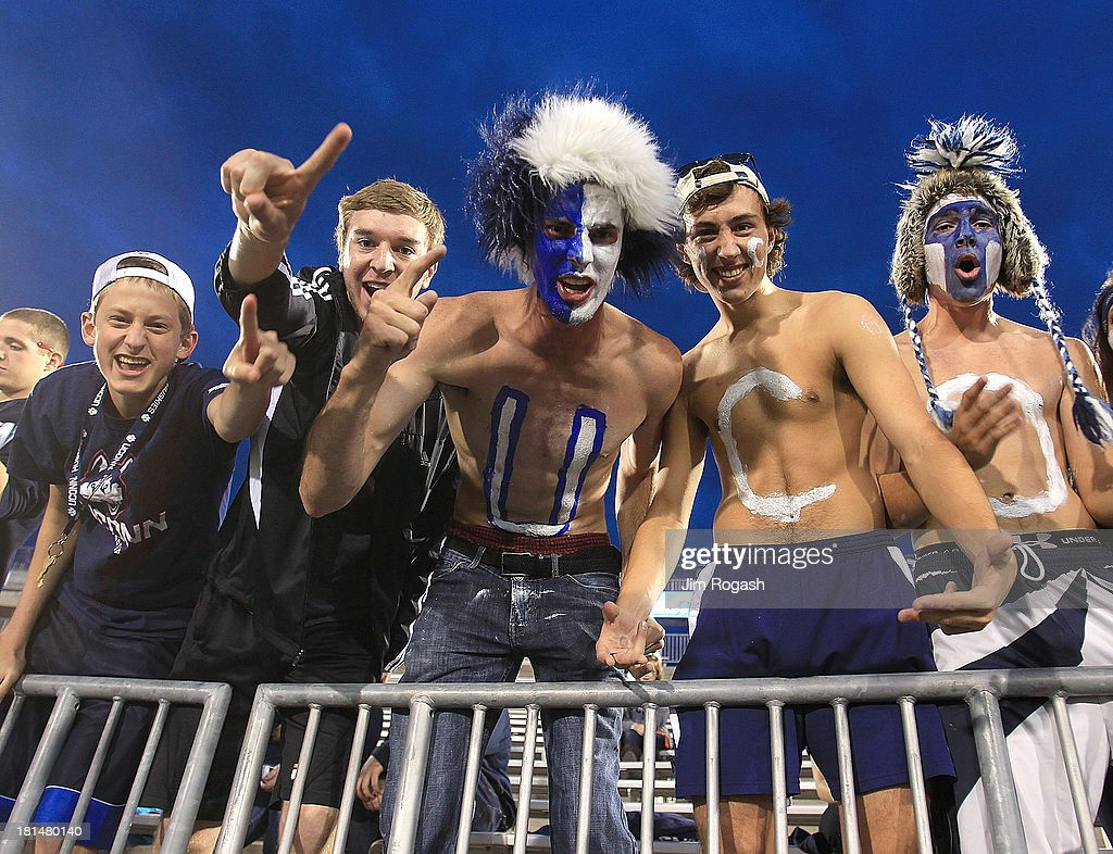 Fans of the Connecticut Huskies display their support before a game with Michigan Wolverines at Rentschler Field on September 21, 2013 in East Hartford, Connecticut.