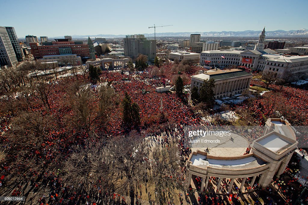 Fans of the Denver Broncos fill Civic Center Park during a victory rally to celebrate their Super Bowl championship on February 9 2016 in Denver...