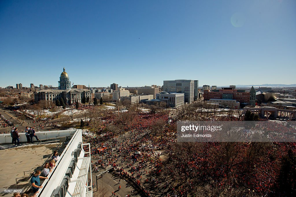 Fans of the Denver Broncos fill Civic Center Park during a victory rally to celebrate their Super Bowl championship on February 9, 2016 in Denver, Colorado. The Broncos defeated the Carolina Panthers 24-10 in Super Bowl 50.