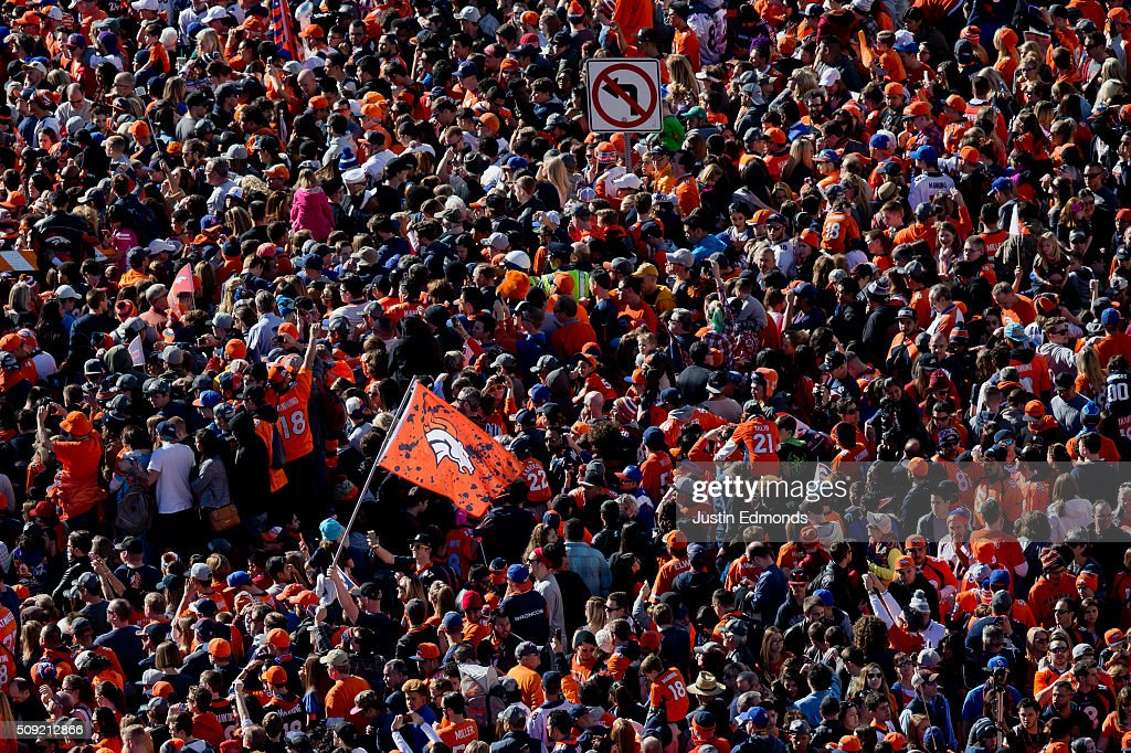 Fans of the Denver Broncos gather for a rally at Civic Center Park following a victory parade to celebrate their Super Bowl championship on February 9, 2016 in Denver, Colorado. The Broncos defeated the Panthers 24-10 in Super Bowl 50.