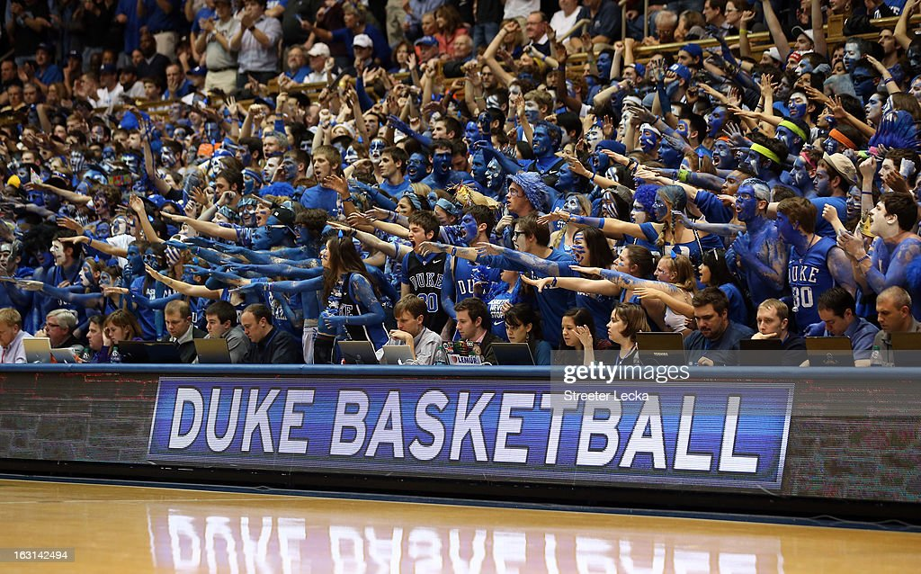 Fans of the Duke Blue Devils during their game at Cameron Indoor Stadium on February 13, 2013 in Durham, North Carolina.