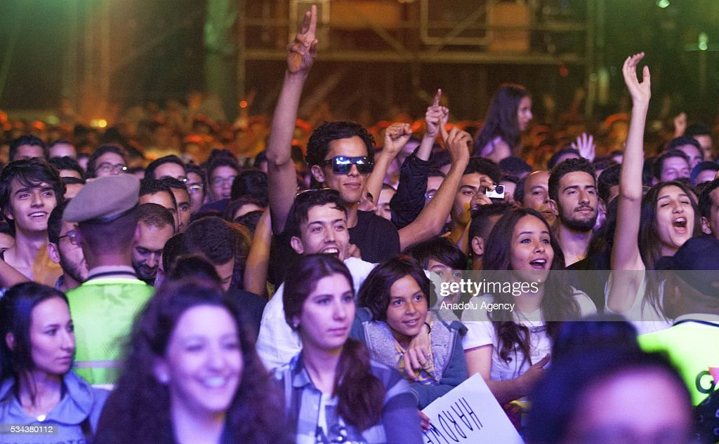 Fans of the Dutch DJ Hardwell (Robbert van de Corput) attend the 15th International Mawazine Music festival at OLM Souissi in Rabat, Morocco on May 25, 2016.