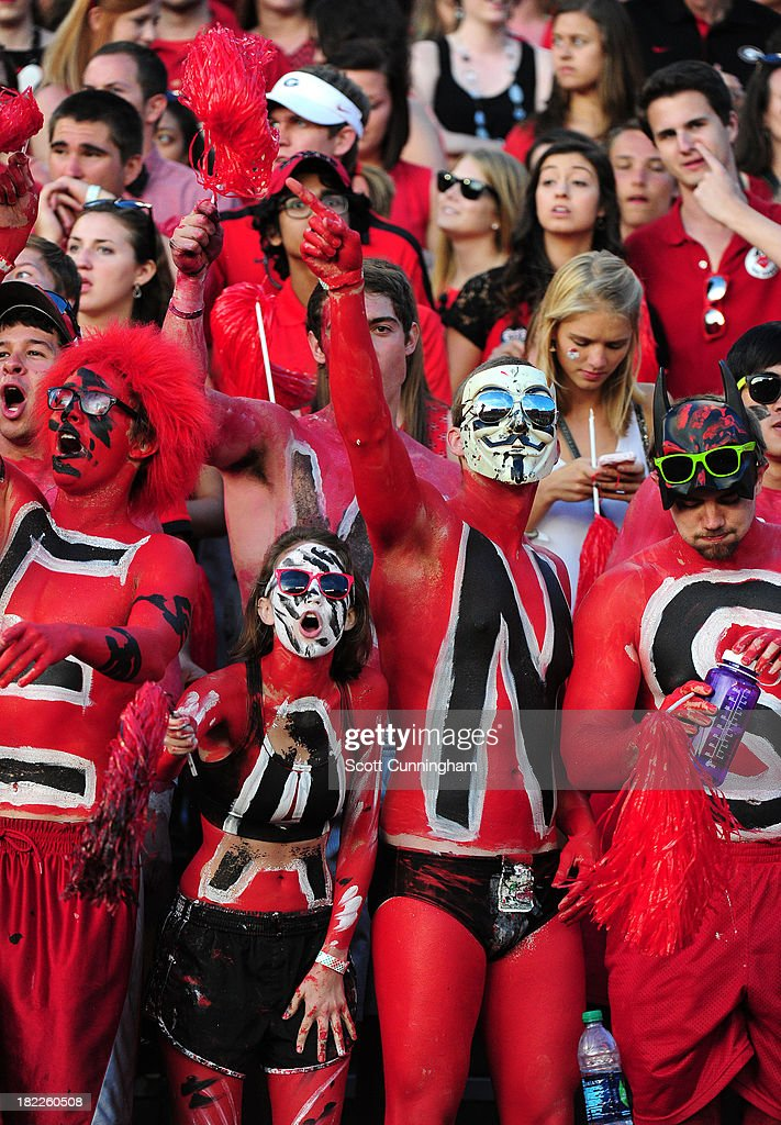 Fans of the Georgia Bulldogs cheer against the LSU Tigers at Sanford Stadium on September 28, 2013 in Athens, Georgia.