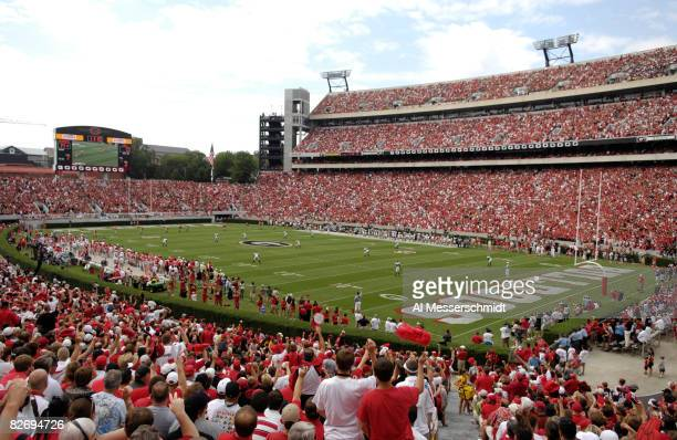 Fans of the Georgia Bulldogs watch play against the Central Michigan Chippewas at Sanford Stadium on September 6 2008 in Athens Georgia