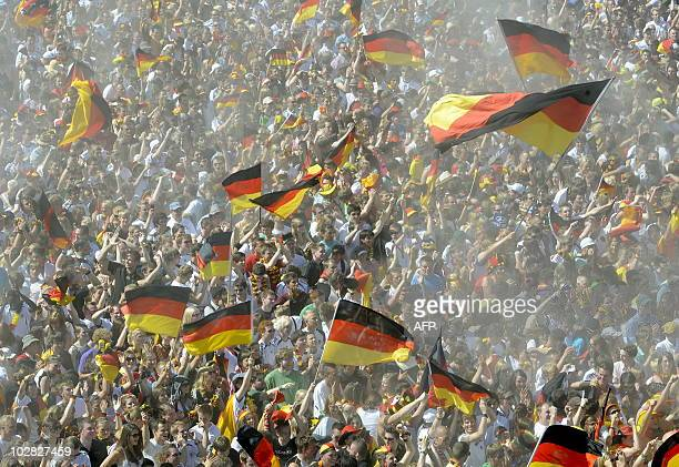 Fans of the German national football team attend the public viewing event of the FIFA Football World Cup 2010 match between England and Germany in...