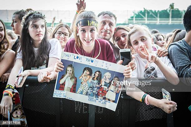 Fans of the girl pop band Little Mix pictured as they perform live at Street Music Art in Assago Milan Italy