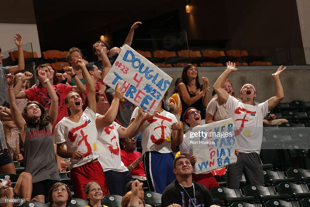 Fans of the Indiana Fever show their support prior to the Fever taking on the New York Liberty on July 23, 2013 at Bankers Life Fieldhouse in Indianapolis, Indiana.