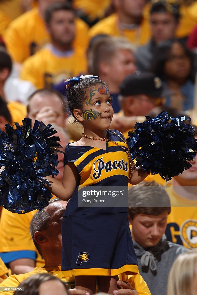 Fans of the Indiana Pacers cheer against the Washington Wizards during Game One of the Eastern Conference Semifinals on May 5, 2014 at Bankers Life Fieldhouse in Indianapolis, Indiana.
