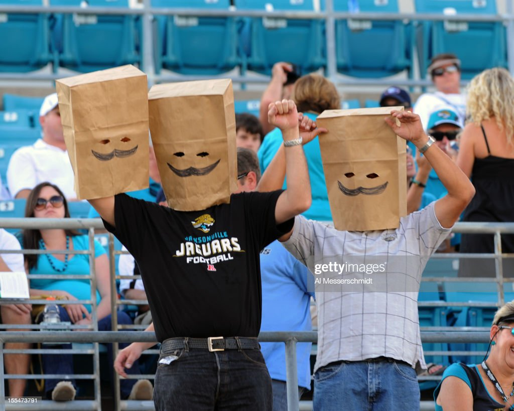 Fans of the Jacksonville Jaguars wear bags as the team loses 31 - 14 against the Detroit Lions November 4, 2012 at EverBank Field in Jacksonville, Florida.