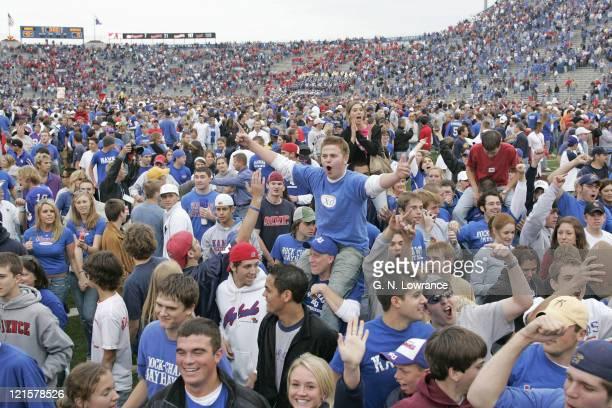 Fans of the Kansas Jayhawks celebrate following a win over the Nebraska Cornhuskers at Memorial Stadium in Lawrence Kansas on November 5 2005 Kansas...