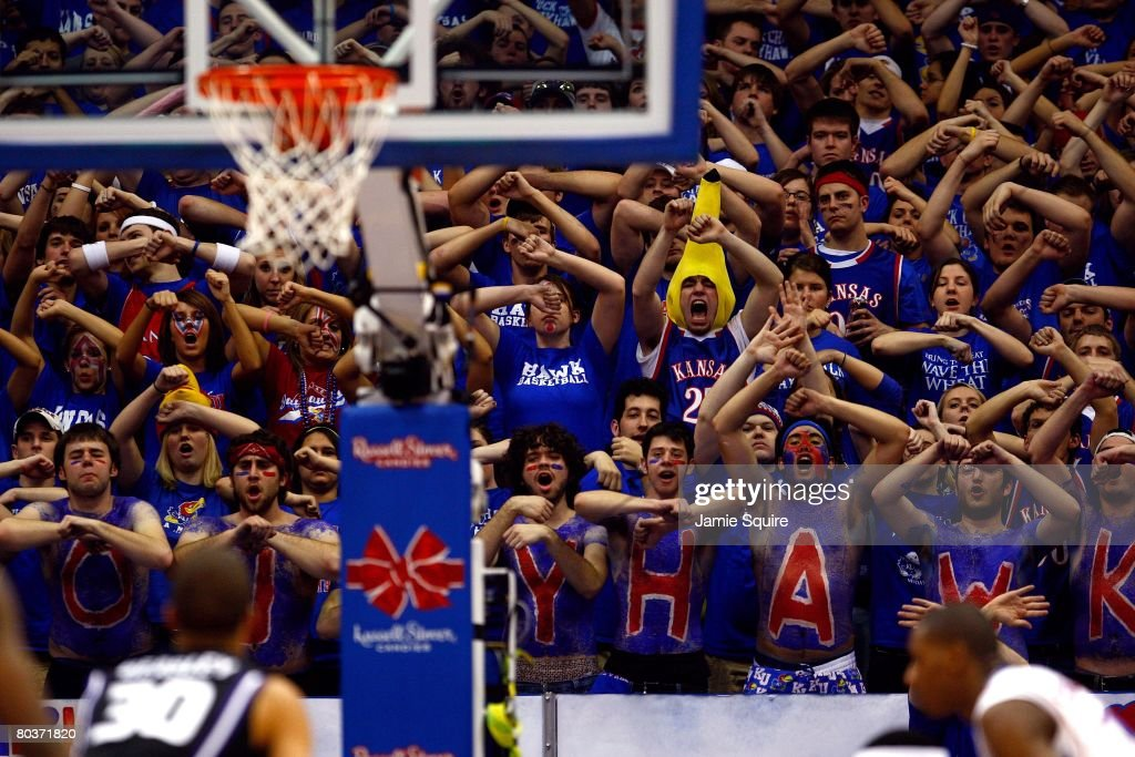Fans of the Kansas Jayhawks try to distract a free throw attempt by Michael Beasley of the Kansas State Wildcats during their game on March 1 2008 at...