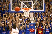 Fans of the Kansas State Wildcats try to distract a freethrow by a the Kansas Jayhawks player during the game on January 13 2009 at Allen Fieldhouse...