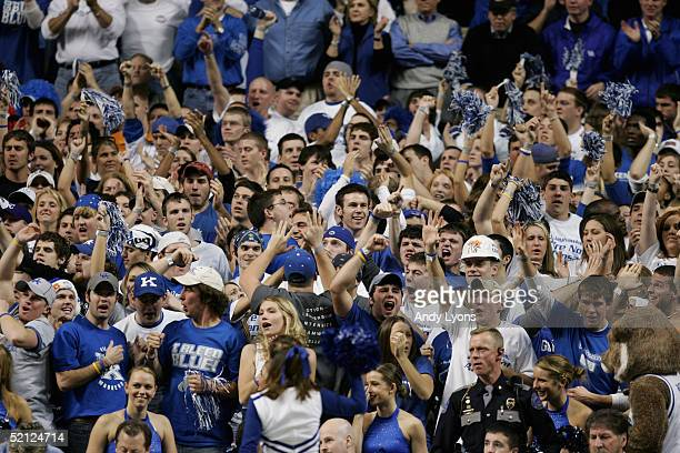 Fans of the Kentucky Wildcats support their team during the game against the Kansas Jayhawks on January 9 2005 at Rupp Arena in Lexington Kentucky...