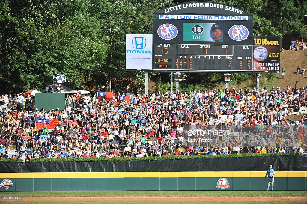 Fans of the little league world series watch the game between California (Chula Vista)and Asia Pacific (Taoyuan, Taiwan) in the little league world series final at Lamade Stadium on August 30, 2009 in Williamsport, Pennsylvania.
