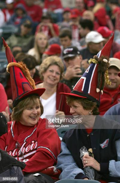 Fans of the Los Angeles Angels of Anaheim watch Game Five of the American League Championship Series against the Chicago White Sox on October 16 2005...