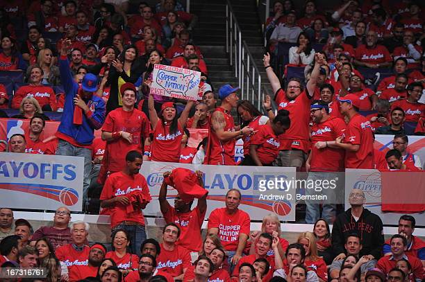 Fans of the Los Angeles Clippers cheer during the game against the Memphis Grizzlies at Staples Center in Game Two of the Western Conference...