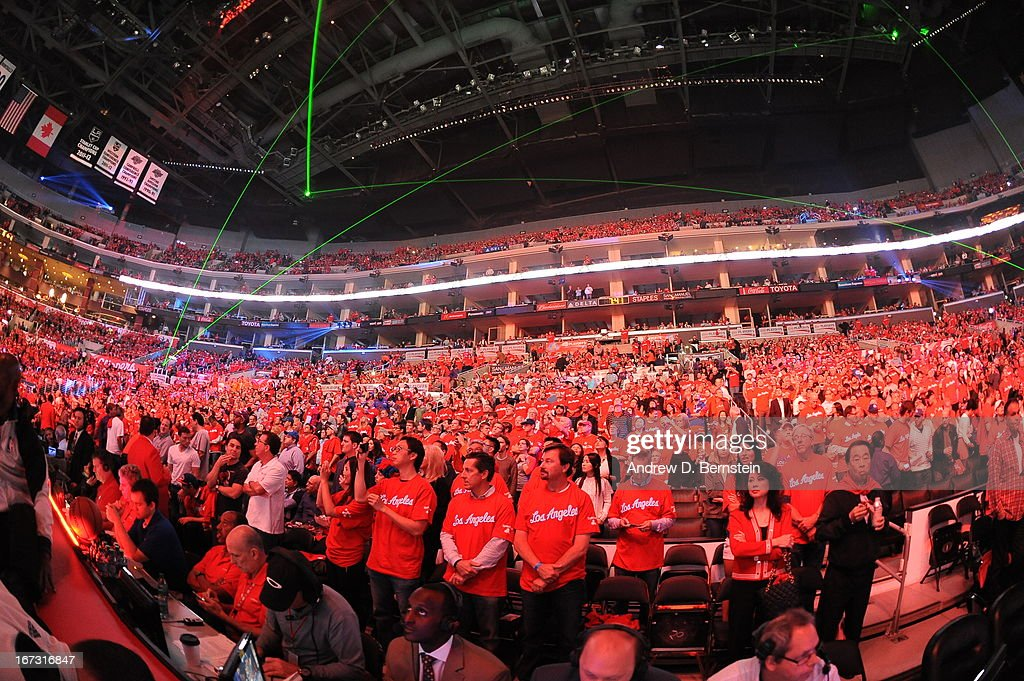 Fans of the Los Angeles Clippers during the game against the Memphis Grizzlies at Staples Center in Game Two of the Western Conference Quarterfinals during the 2013 NBA Playoffs on April 22, 2013 in Los Angeles, California.