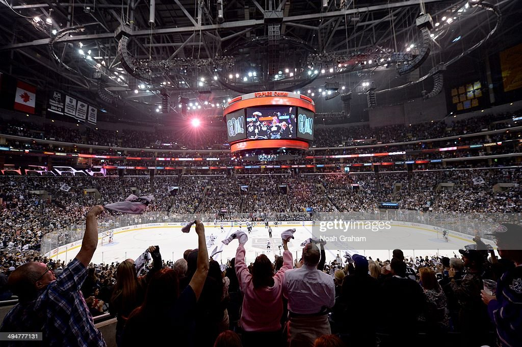 Fans of the Los Angeles Kings celebrate after a goal against the Chicago Blackhawks in Game Six of the Western Conference Final during the 2014...