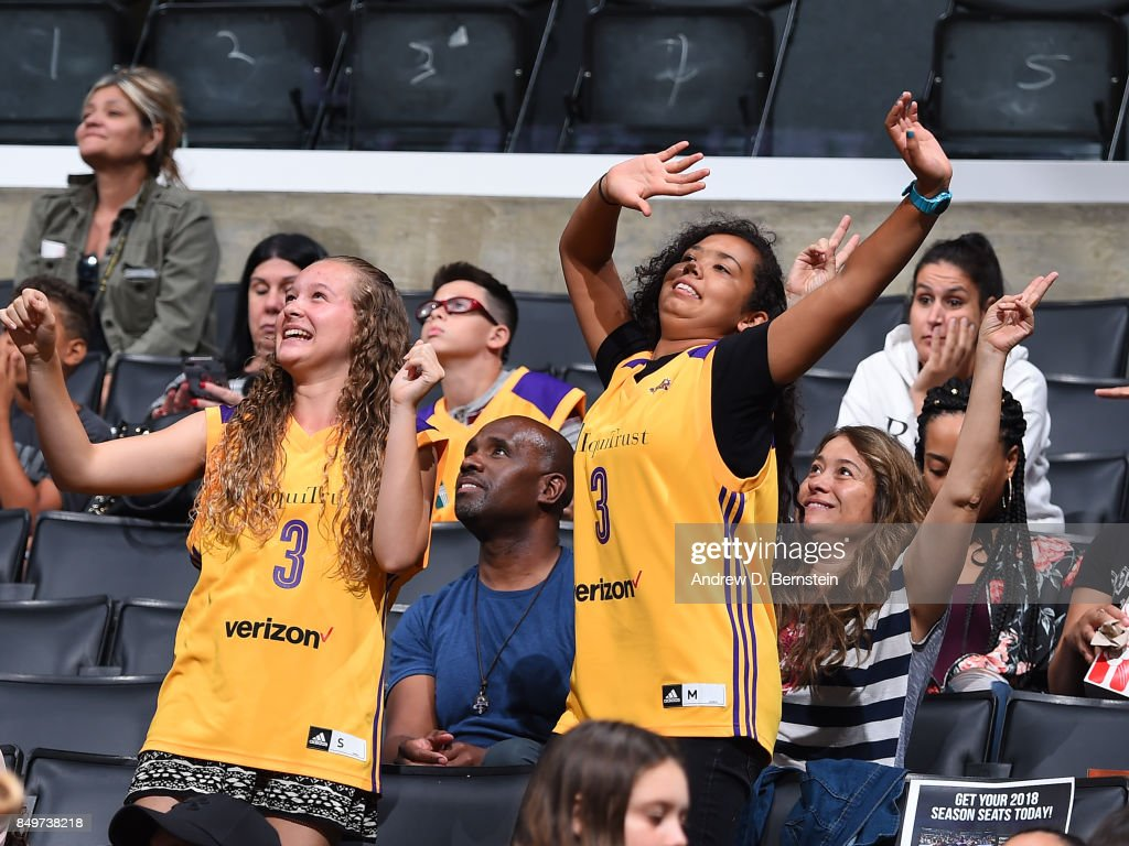 Fans of the Los Angeles Sparks cheer during the game against the Phoenix Mercury in Game One of the Semifinals during the 2017 WNBA Playoffs on September 12, 2017 at STAPLES Center in Los Angeles, California.
