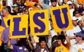 Fans of the Louisiana State University Tigers hold up a sign against the Alabama Crimson Tide at BryantDenny Stadium on November 7 2009 in Tuscaloosa...