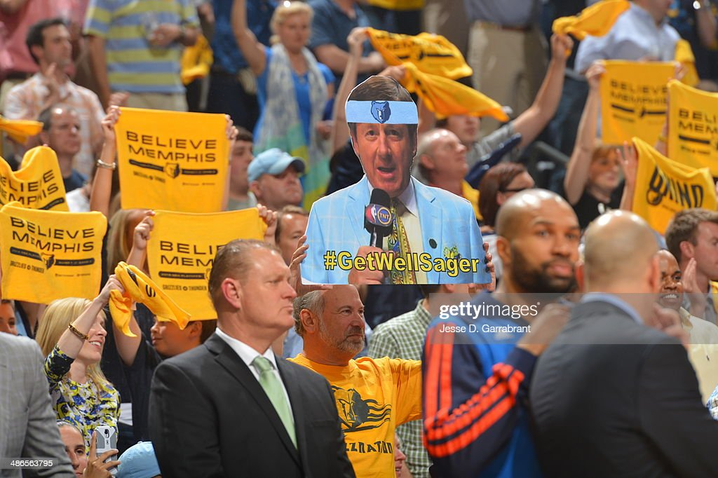 Fans of the Memphis Grizzlies hold a sign up for <a gi-track='captionPersonalityLinkClicked' href=/galleries/search?phrase=Craig+Sager&family=editorial&specificpeople=617407 ng-click='$event.stopPropagation()'>Craig Sager</a> against the Oklahoma City Thunder in Game Three of the Western Conference Quarterfinals during the 2014 NBA Playoffs on April 24, 2014 at FedExForum in Memphis, Tennessee.