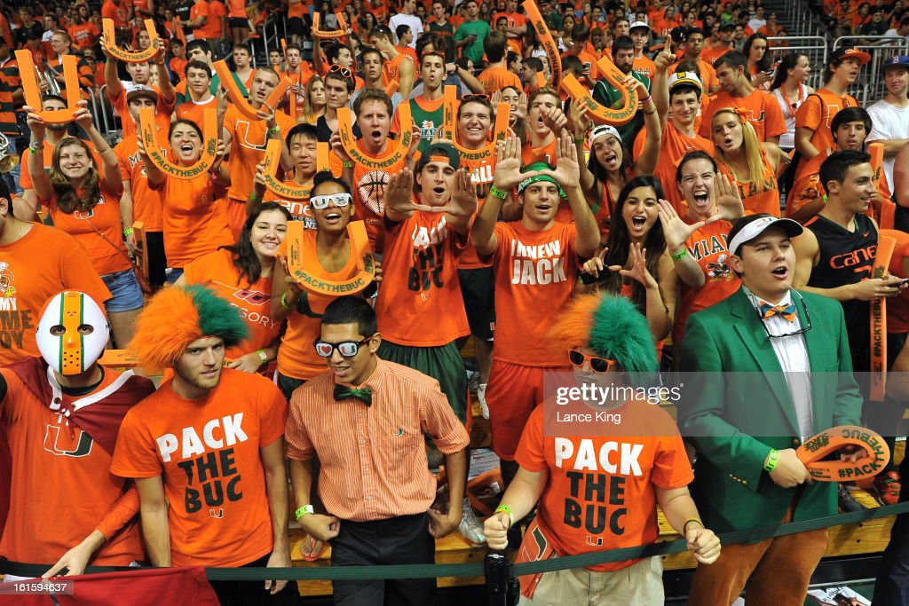 Fans of the Miami Hurricanes cheer prior to a game against the North Carolina Tar Heels at the BankUnited Center on February 9, 2013 in Coral Gables, Florida. Miami defeated North Carolina 87-61.