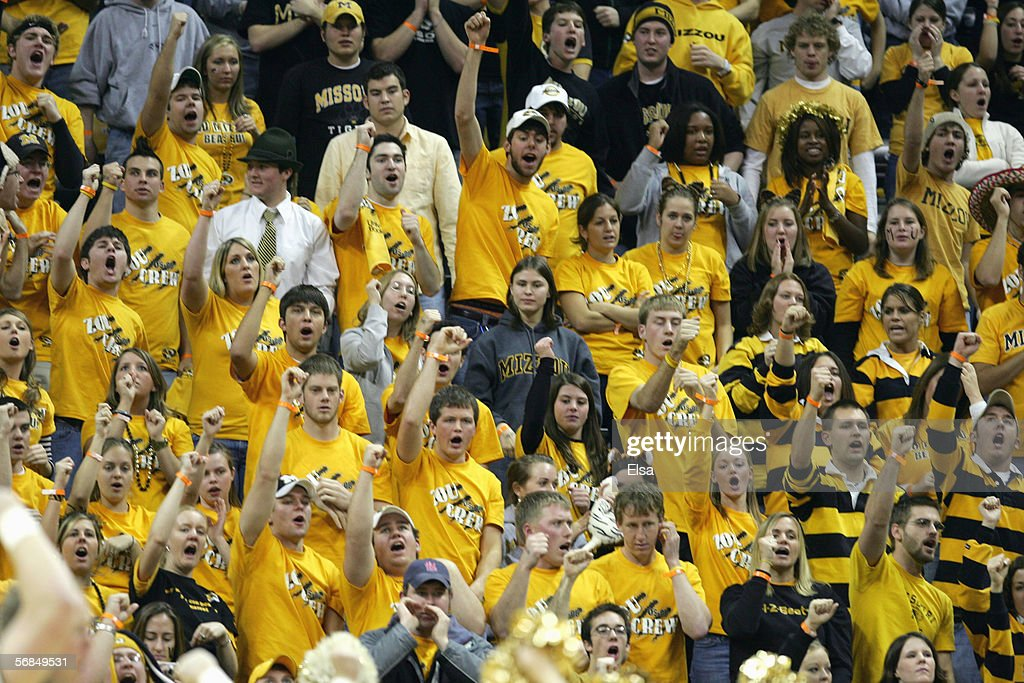 Fans of the Missouri Tigers cheer in the stands during the game against the Kansas Jayhawks on January 162006 at Mizzou Arena in Columbia Missouri...