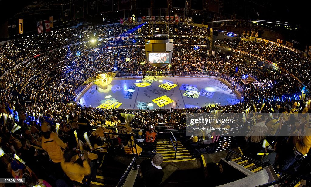 Fans of the Nashville Predators hold up lights prior to Game Four of the Western Conference First Round between the Nashville Predators and the Anaheim Ducks during the 2016 NHL Stanley Cup Playoffs at Bridgestone Arena on April 19, 2016 in Nashville, Tennessee.