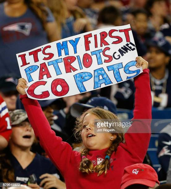 A fans of the New England Patriots reacts after a preseason game against the Jacksonville Jaguars at Gillette Stadium on August 10 2017 in Foxboro...