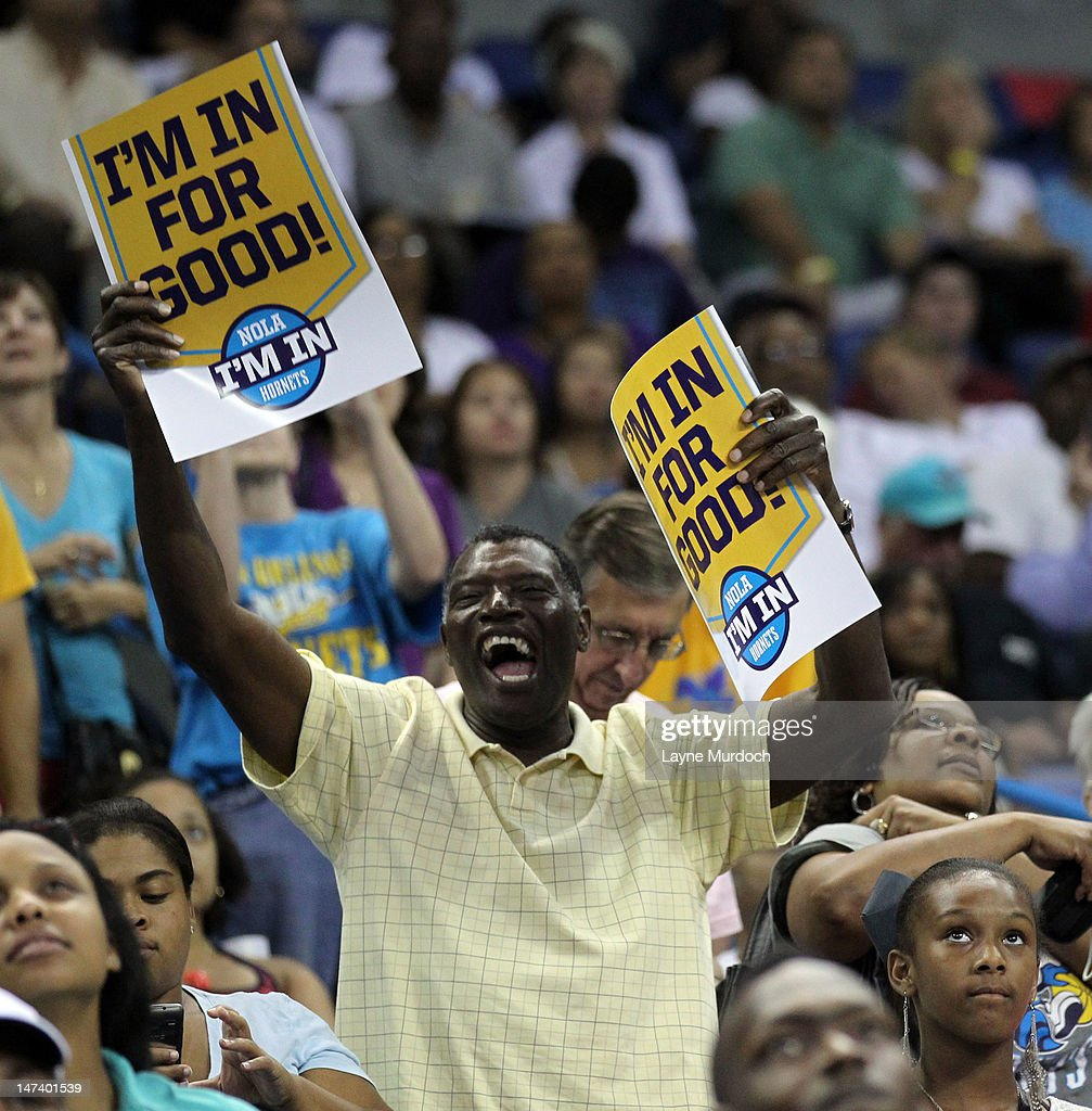 Fans of the New Orleans Hornets cheer as the team selects Anthony Davis of Kentucky with the 1st overall selection in the 2012 NBA draft on JUNE 28, 2012 at the New Orleans Arena in New Orleans, Louisiana.