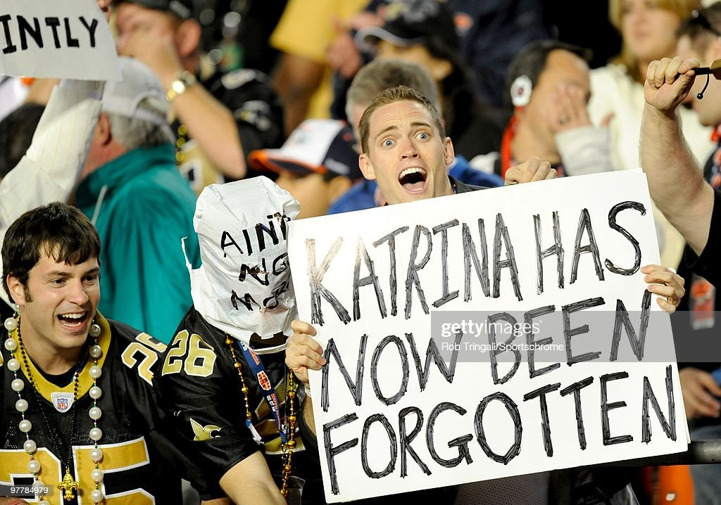 Fans of the New Orleans Saints cheer during a game against the Indianapolis Colts in Super Bowl XLIV on February 7, 2010 at Sun Life Stadium in Miami Gardens, Florida.