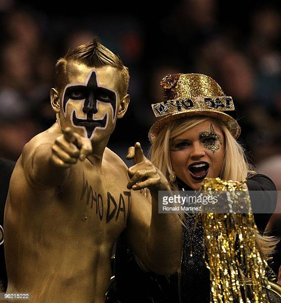 Fans of the New Orleans Saints support the Saints against the Minnesota Vikings during the NFC Championship Game at the Louisana Superdome on January...