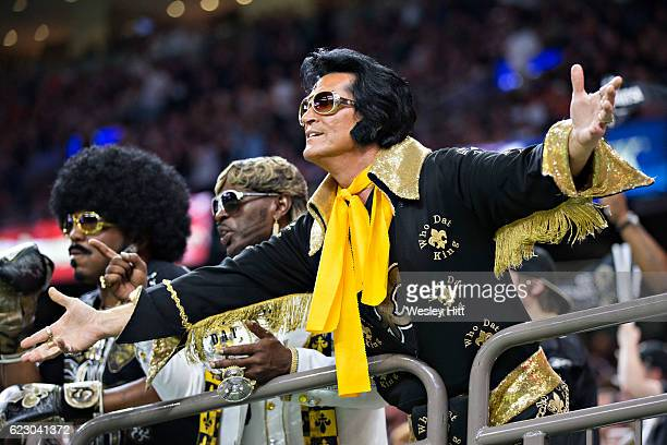 Fans of the New Orleans Saints yell to the officials during a game against the Denver Broncos at MercedesBenz Superdome on November 13 2016 in New...