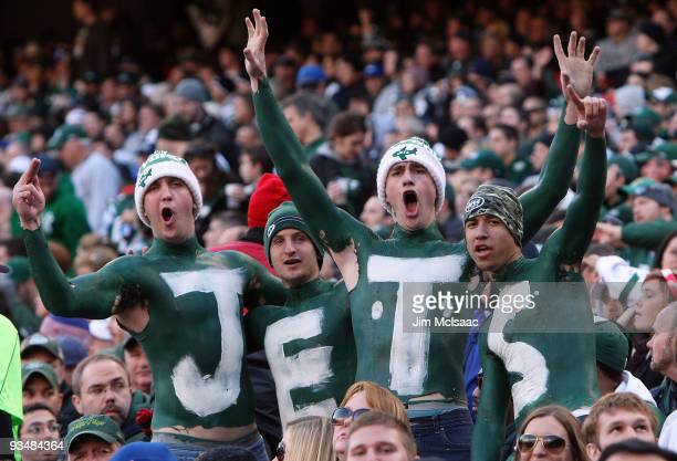 Fans of the New York Jets cheer on their team against the Carolina Panthers on November 29 2009 at Giants Stadium in East Rutherford New Jersey The...