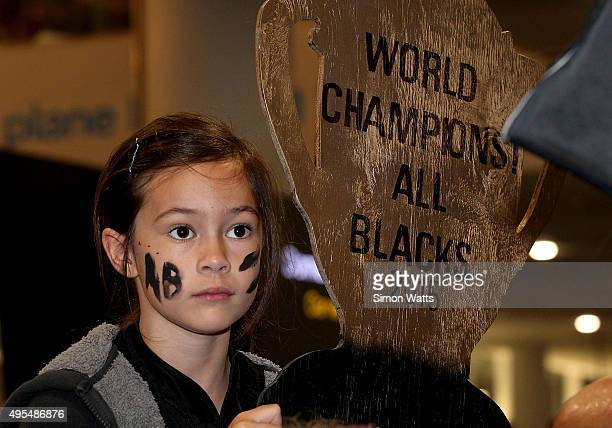 Fans of the New Zealand All Blacks wait at the Auckland International Airport on November 4 2015 in Auckland New Zealand The All Blacks defeated the...