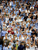 Fans of the North Carolina Tar Heels cheer during their regional semifinal game against the Villanova Wildcats on March 25 2005 at the Carrier Dome...