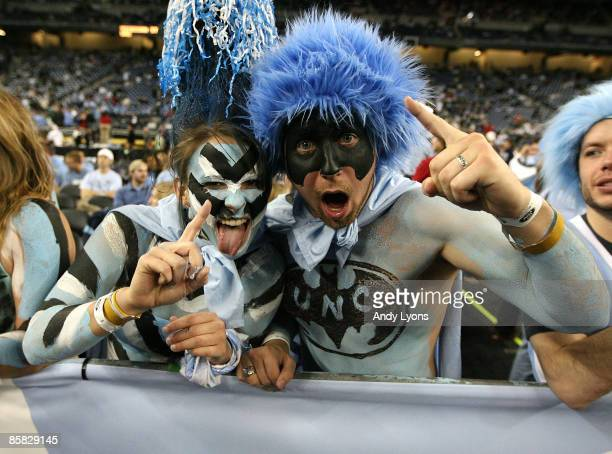 Fans of the North Carolina Tar Heels support their team against the Michigan State Spartans during the 2009 NCAA Division I Men's Basketball National...