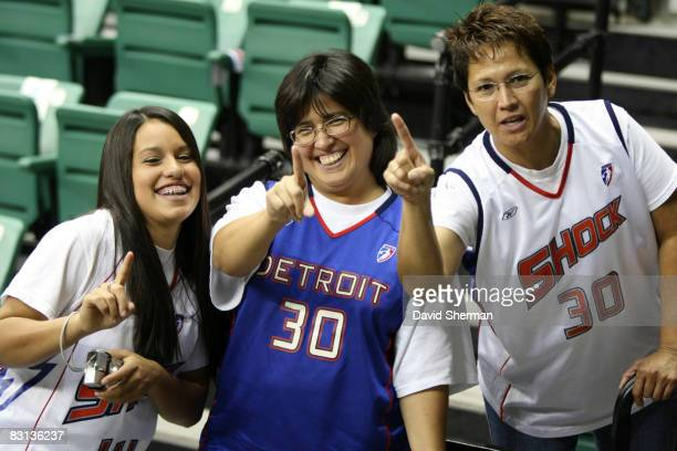 Fans of the of the Detroit Shock cheer against the San Antonio Silver Stars in Game Three of the WNBA Finals on October 5 2008 at the Eastern...