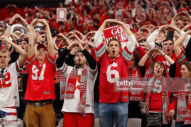 Fans of the Ohio State Buckeyes cheer after defeating the Notre Dame Fighting Irish 4428 in the BattleFrog Fiesta Bowl at University of Phoenix...