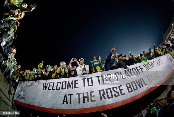 Fans of the Oregon Ducks celebrate after defeating the Florida State Seminoles 5920 in the College Football Playoff Semifinal at the Rose Bowl Game...