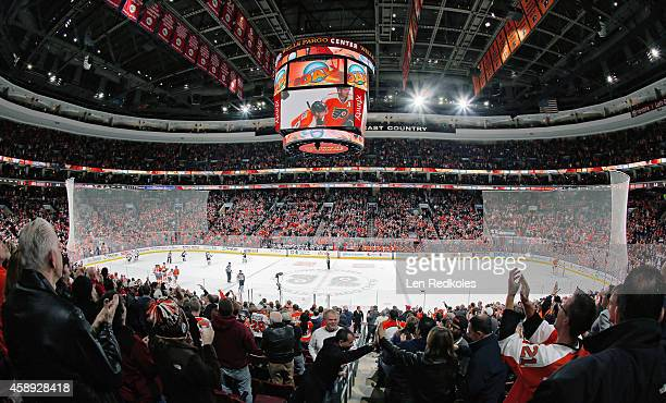 Fans of the Philadelphia Flyers celebrate Claude Giroux's first period powerplay goal against the Colorado Avalanche on November 8 2014 at the Wells...