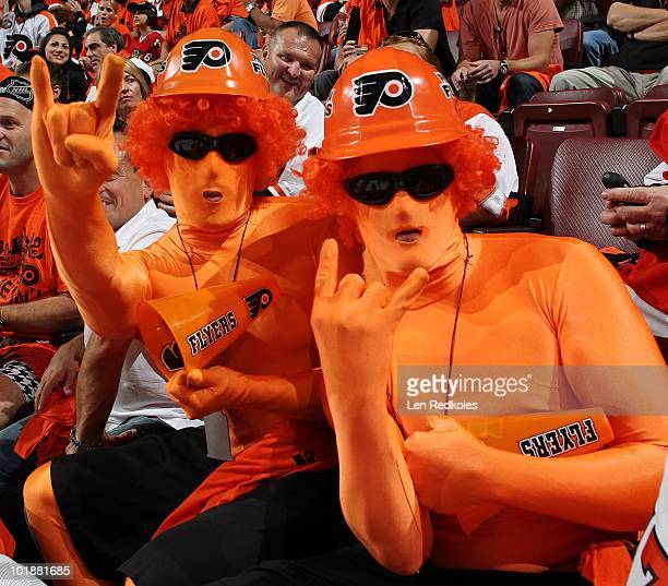 Fans of the Philadelphia Flyers cheer for their team during their game against the Chicago Blackhawks in Game Four of the 2010 NHL Stanley Cup Final...