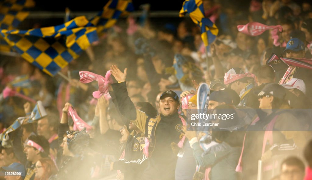 Fans of the Philadelphia Union cheer after Jack McInerney scored a goal against the New England Revolution at PPL Park on October 6, 2012 in Chester, Pennsylvania.