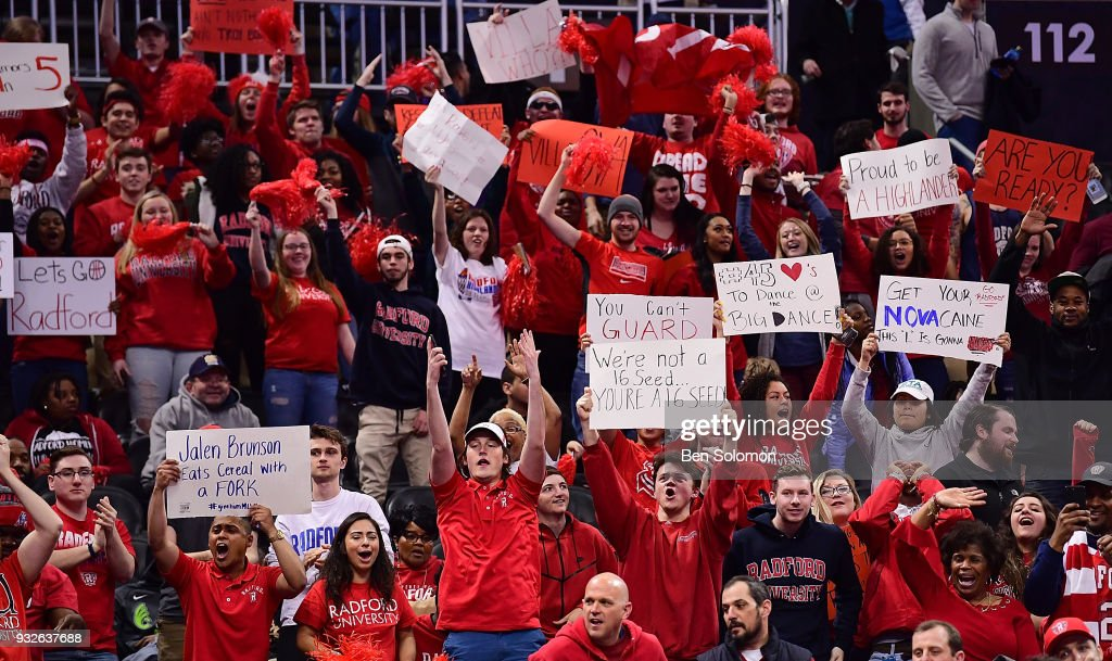 Fans of the Radford Highlanders hold up signs before the start of the game against the Villanova Wildcats during the first round of the 2018 NCAA Men's Basketball Tournament held at PPG Paints Arena on March 15, 2018 in Pittsburgh, Pennsylvania.