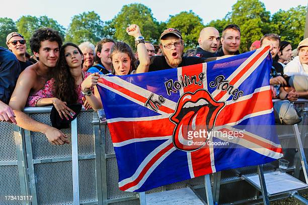 Fans of the Rolling Stones at British Summer Time Festival at Hyde Park on July 13 2013 in London England