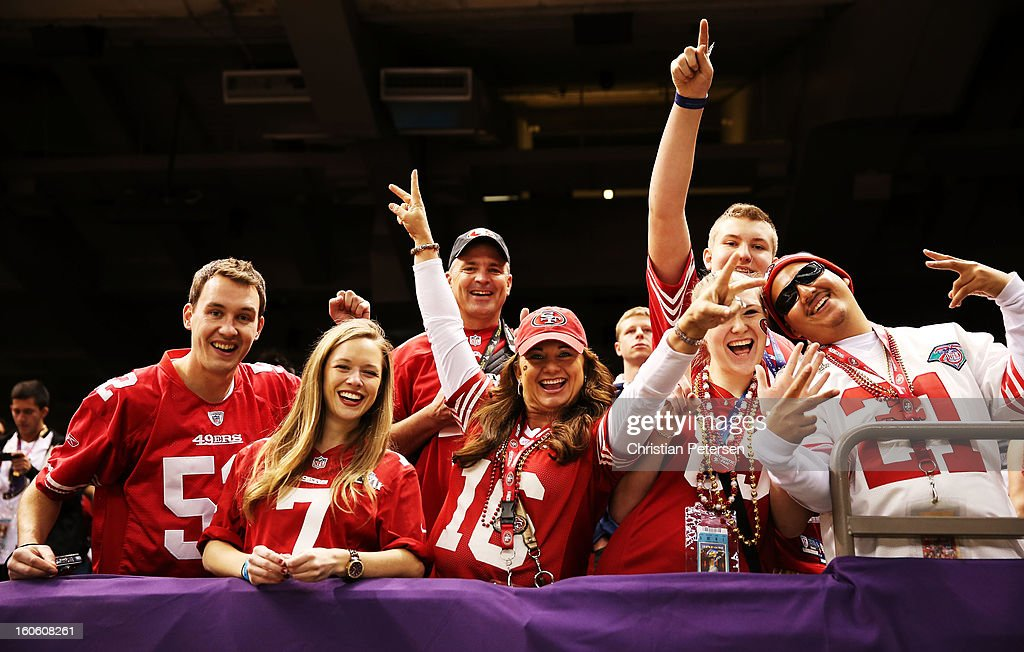 Fans of the San Francisco 49ers show support for their team from the stands during warm ups prior to playing against the Baltimore Ravens during Super Bowl XLVII at the Mercedes-Benz Superdome on February 3, 2013 in New Orleans, Louisiana.