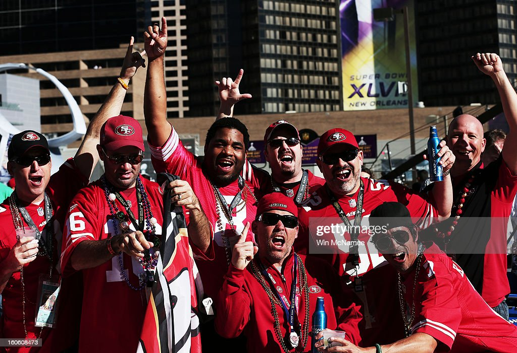 Fans of the San Francisco 49ers show support for their team outside the stadium prior to Super Bowl XLVII against the Baltimore Ravens at the Mercedes-Benz Superdome on February 3, 2013 in New Orleans, Louisiana.