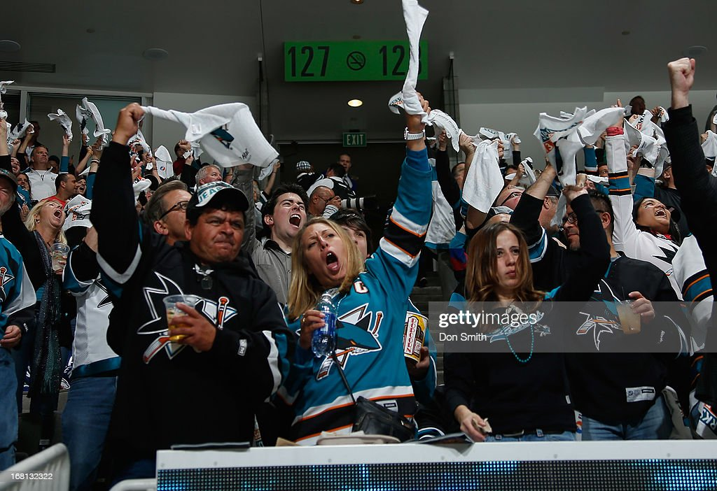 Fans of the San Jose Sharks celebrate goal against the Vancouver Canucks in Game One of the Western Conference Quarterfinals during the 2013 Stanley Cup Playoffs at HP Pavilion on May 5, 2013 in San Jose, California.